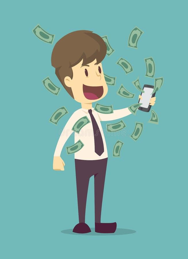 收到金钱的愉快的年轻商人从智能手机屏幕 事务,雇员成功动画片是人的概念 库存例证