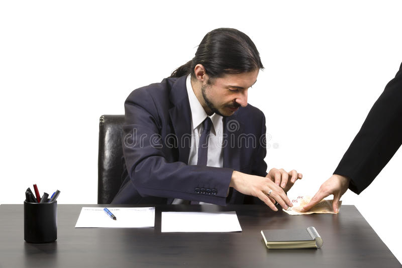 收受在结局的商人贿赂 库存照片