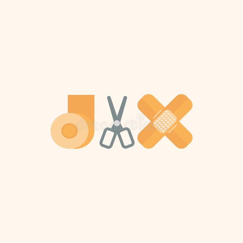 收口膏药、医疗绷带和剪刀 r 10 eps 库存例证
