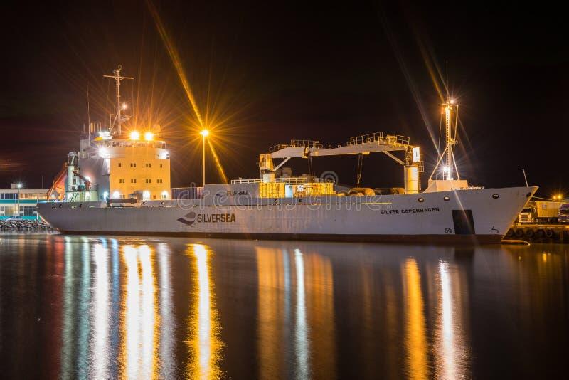 收帆水手装载在Hornafjordur港的银色哥本哈根  免版税库存图片