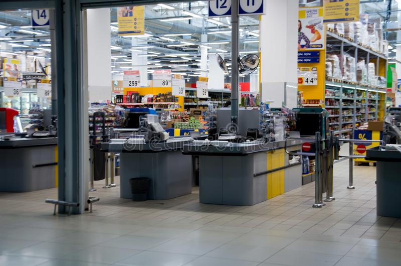收款机超级市场 免版税图库摄影