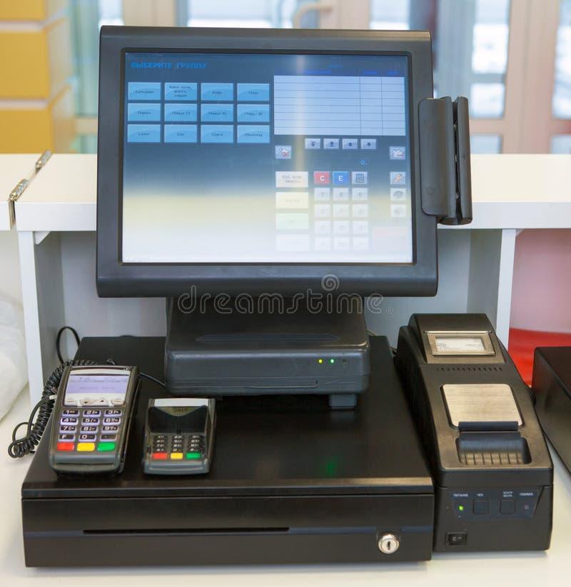 收款机,财务,塑料卡片阅读机 库存图片