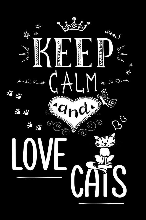 收留安静和爱猫,在黑背景的滑稽的字法 库存例证