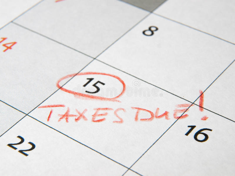 收税交付明显在日历 库存图片