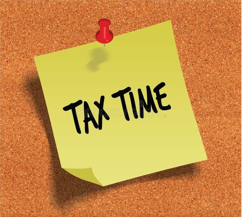 收税时间手写在黄柏noticeboard背景的黄色稠粘的纸笔记 库存照片
