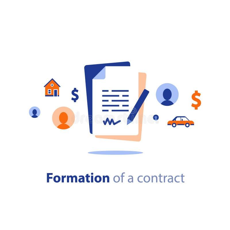 收缩创作服务,文件形成为时将, prenup期限情况,离婚物产分离,和解协议 向量例证