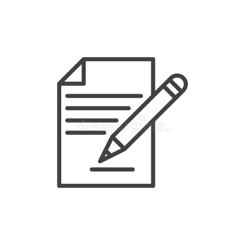 收缩签字,文件和铅笔线象,概述传染媒介标志,在白色隔绝的线性样式图表 向量例证