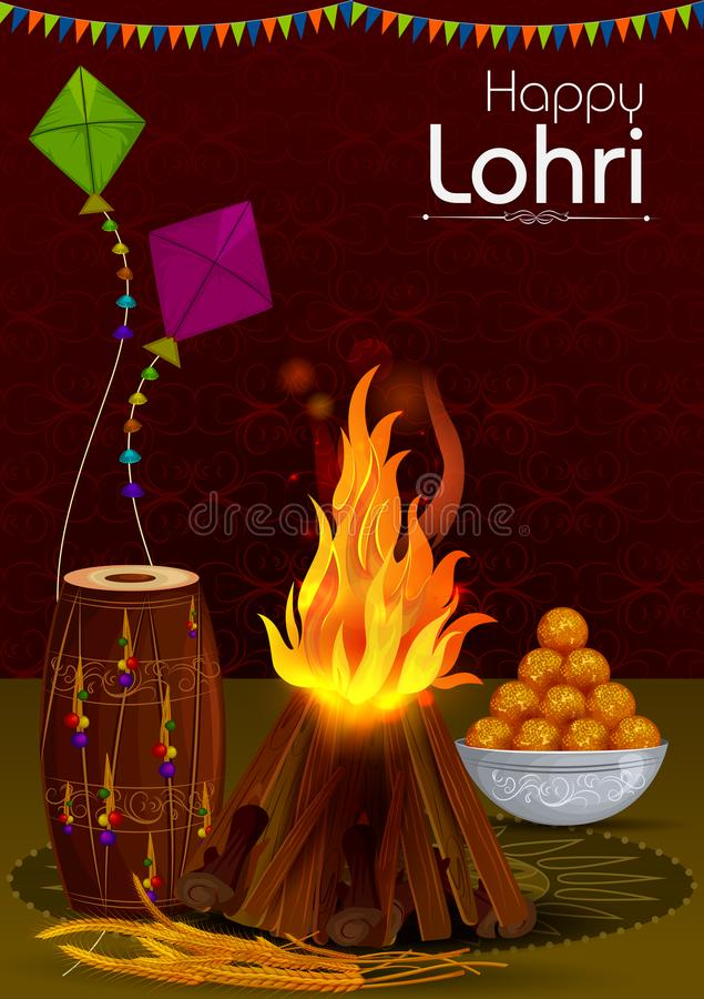 收获的印度的节日愉快的Lohri旁遮普人宗教节背景 皇族释放例证