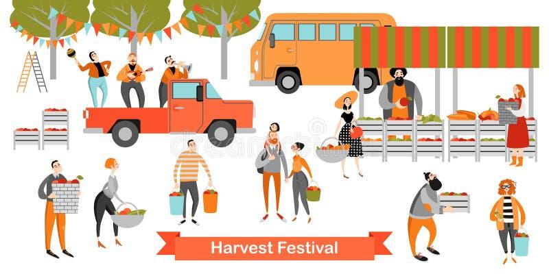 收获节日 愉快的人民买蔬菜和水果在一个小市场上 库存例证