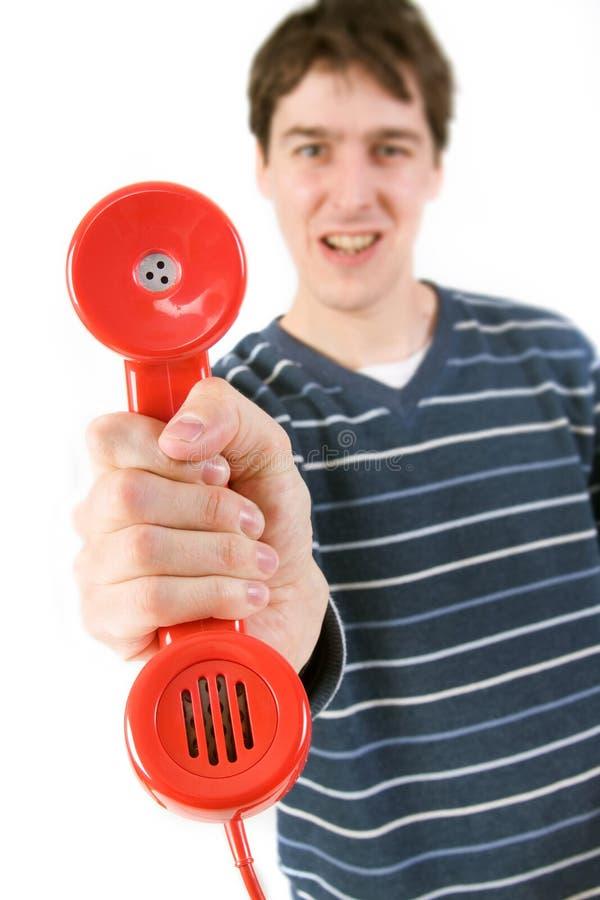 收货人红色电话 免版税库存照片