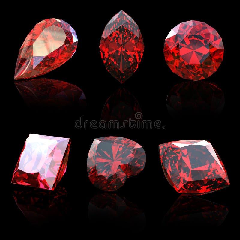 收集不同的石榴石宝石形状 向量例证