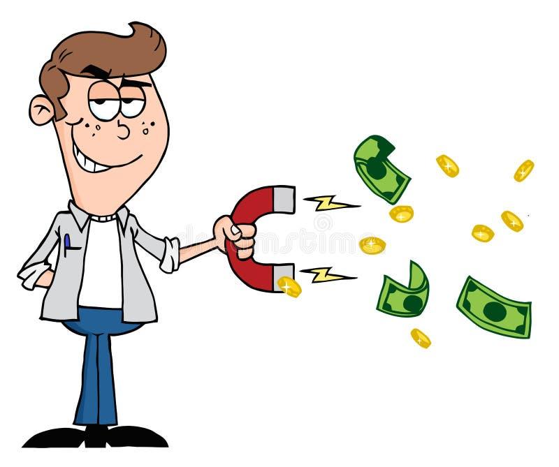 收集与货币磁铁的人现金 向量例证