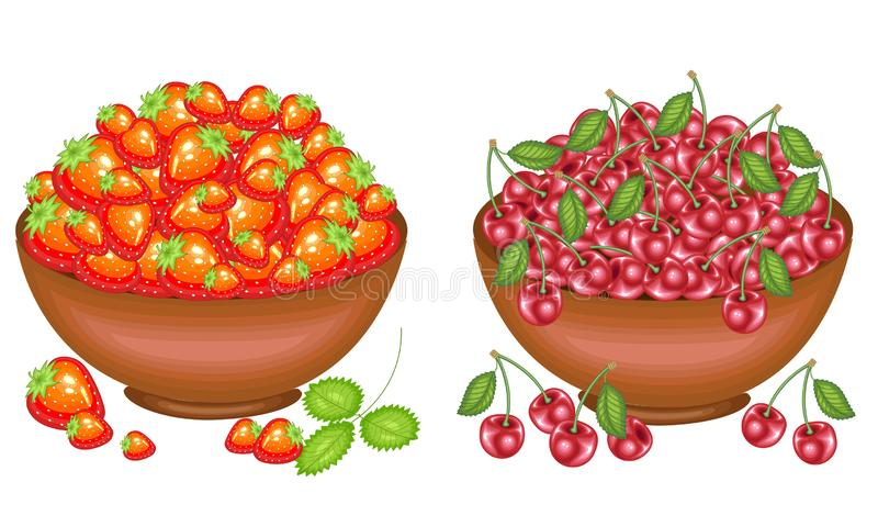 ?? 收集了一个慷慨的收获篮子有很多成熟水多的莓果 新鲜的美丽的草莓和樱桃,来源 皇族释放例证