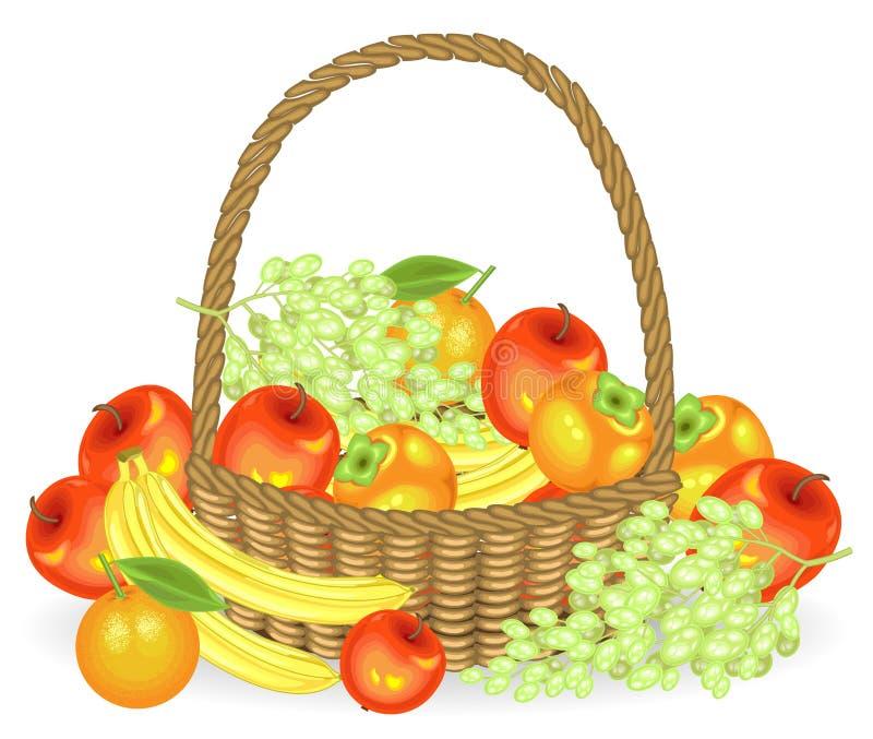 ?? 收集了在篮子的一个慷慨的收获是苹果、香蕉、葡萄、柿子和桔子 新鲜美丽 皇族释放例证