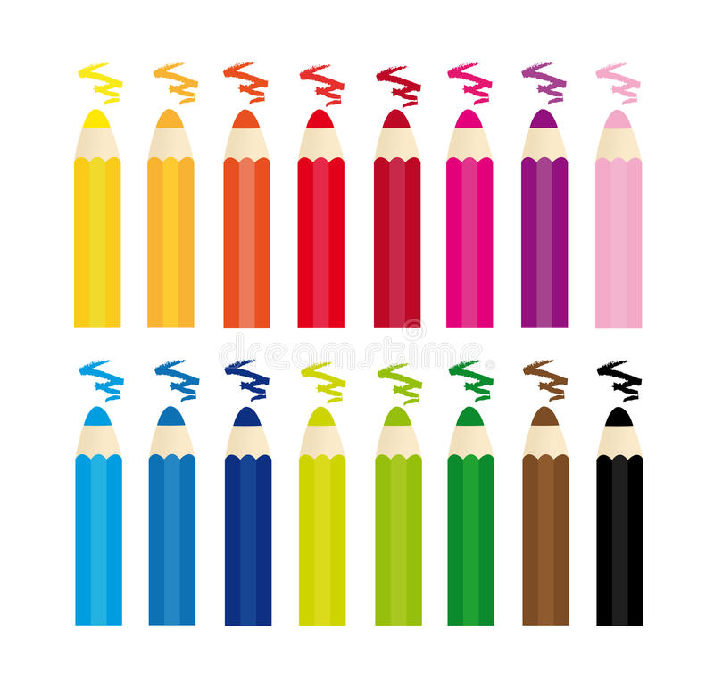 收集五颜六色的蜡笔 图库摄影