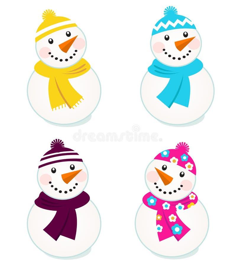 收集五颜六色的逗人喜爱的雪人向量 皇族释放例证