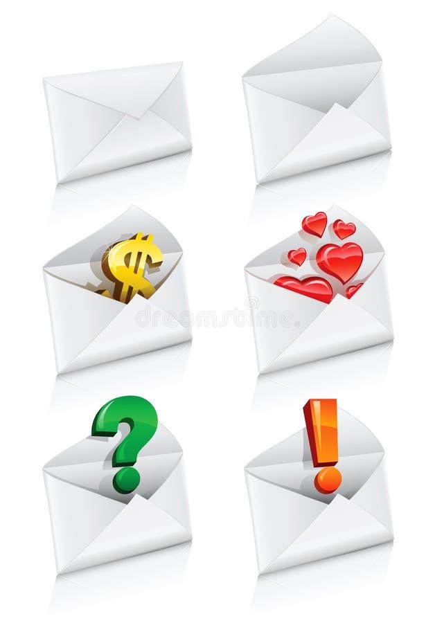 收集信包图标邮寄向量 向量例证