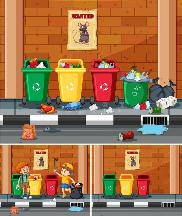 收集垃圾的志愿孩子在街道 库存例证