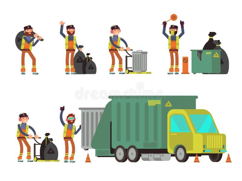 收集城市垃圾和废物回收的倒垃圾工人 动画片重点极性集向量 库存例证