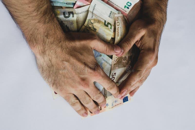 收集堆另外价值欧元钞票 库存照片
