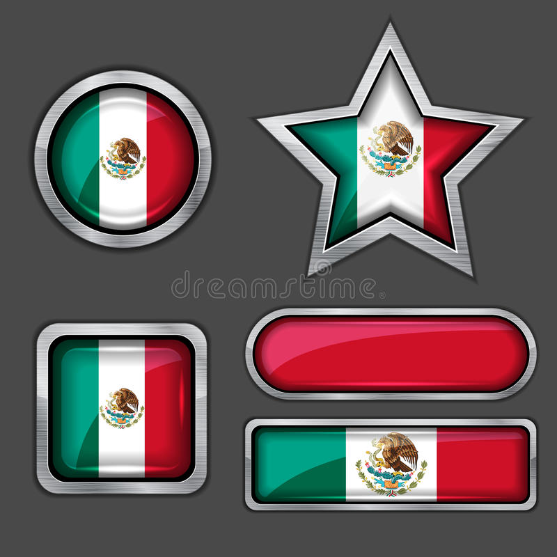 收集墨西哥标志的图标 库存例证