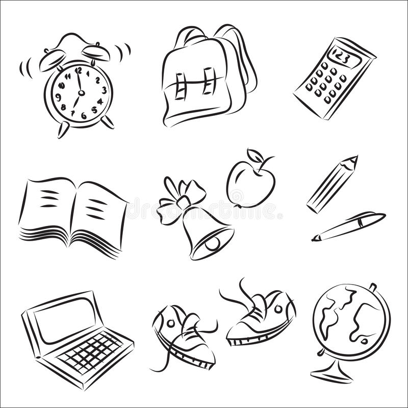收集学校草图 向量例证