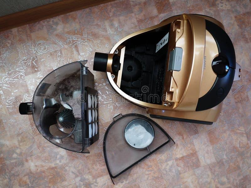 收集尘土的吸尘器没有垃圾袋 细节和特写镜头 图库摄影