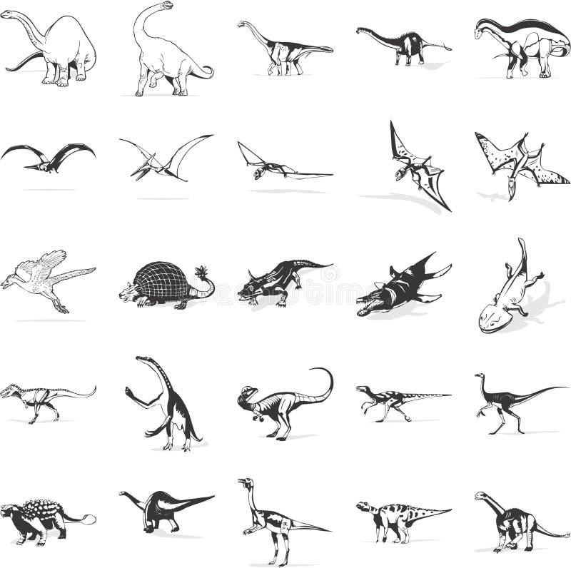 收集恐龙图标 向量例证