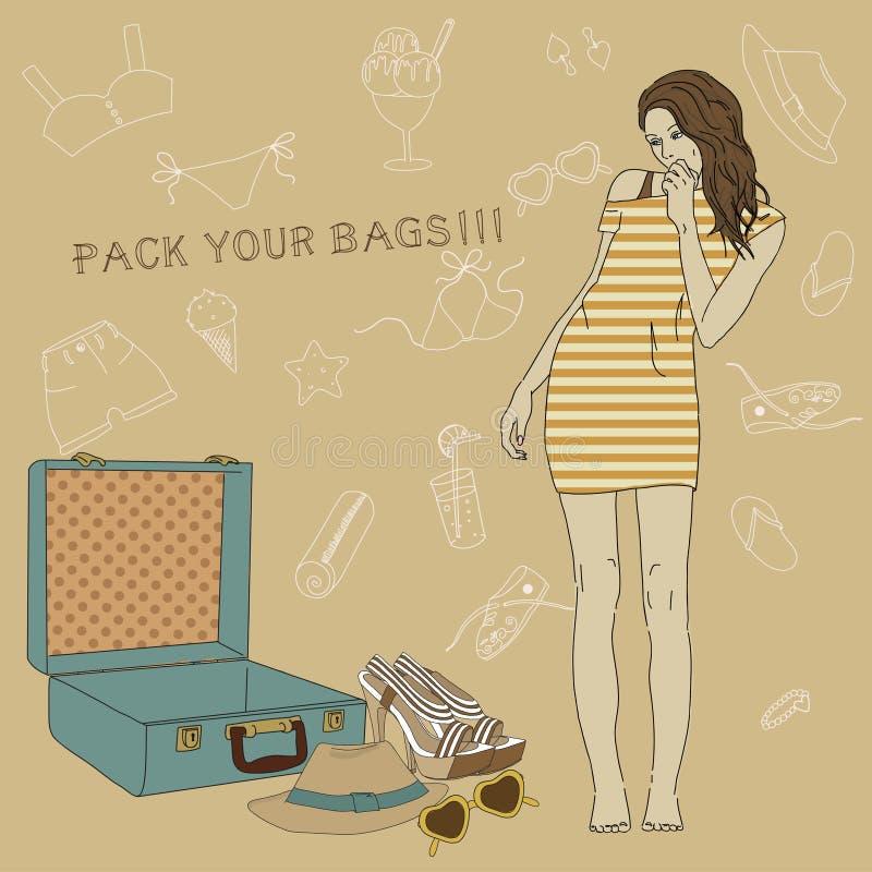 收集手提箱女孩的例证。Al 向量例证
