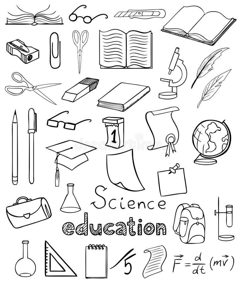 收集教育科学向量 库存例证