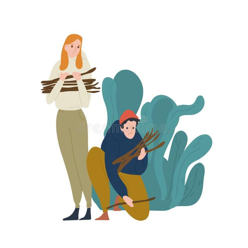收集枝杈或草丛篝火或营火的年轻人和妇女 配对狂放的自然的游人 ?? 向量例证