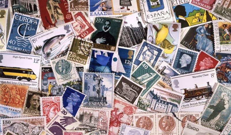 收集欧洲邮票印花税 免版税库存图片