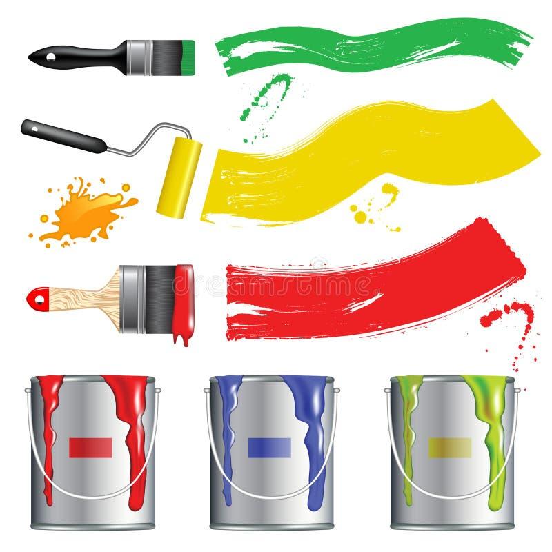收集油漆工具 向量例证