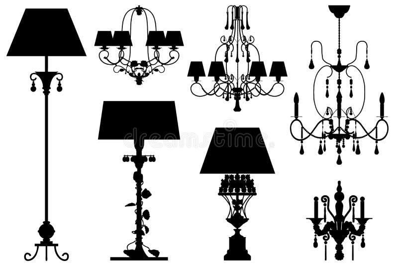 收集照明设备现出轮廓向量 向量例证