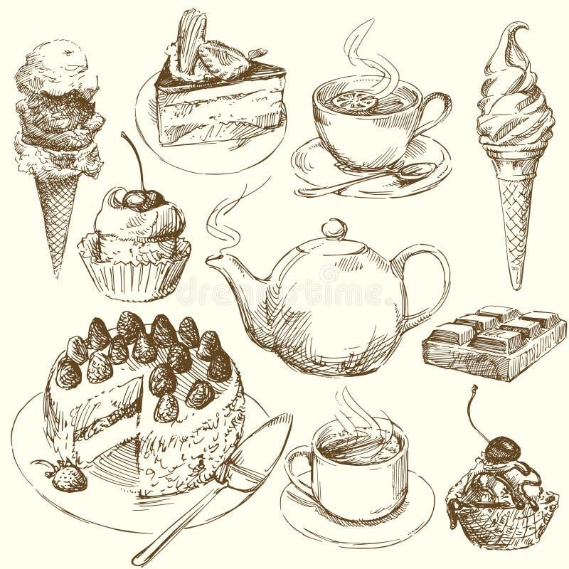 收集甜点 库存例证