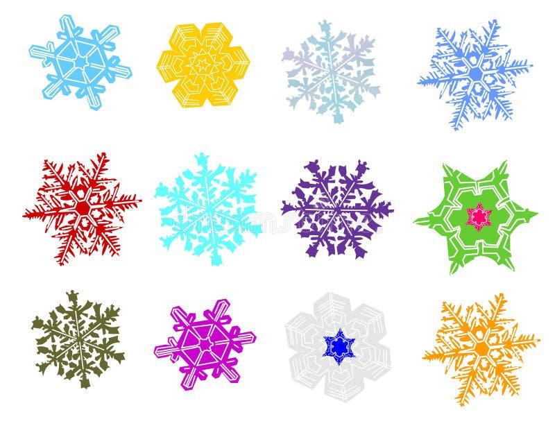 收集色的雪花 向量例证