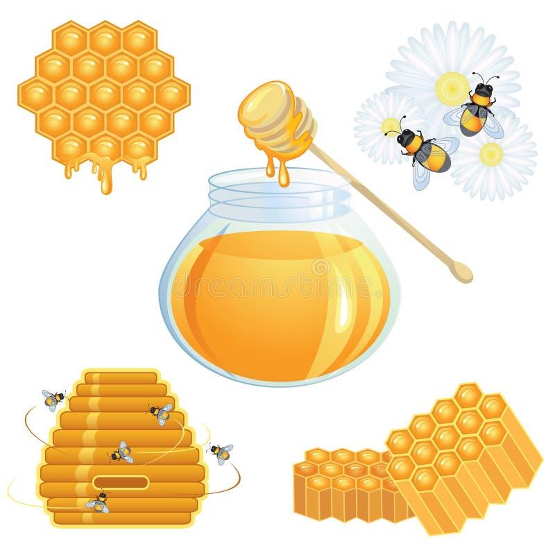 收集蜂蜜图标 向量例证