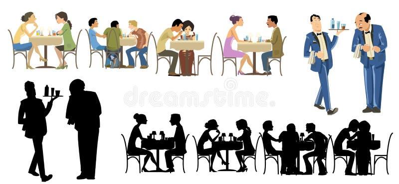 收集行人餐馆 向量例证