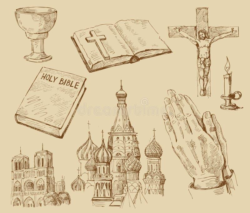 收集被画的现有量宗教信仰 向量例证