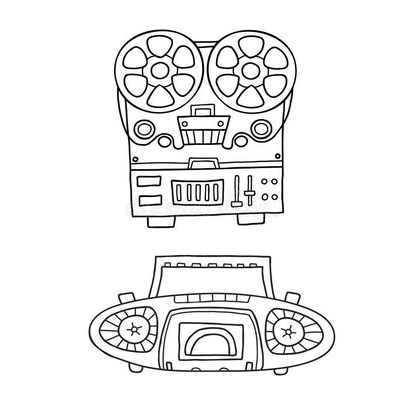收集设备图象音乐老记录员减速火箭的时髦的磁带 老录音机的时髦的图片