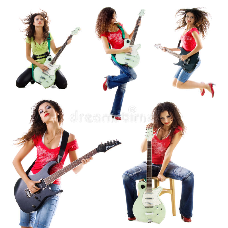 收集逗人喜爱的吉他弹奏者照片妇女 免版税库存图片