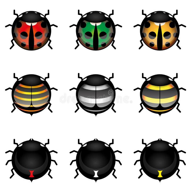 收集逗人喜爱的昆虫 向量例证