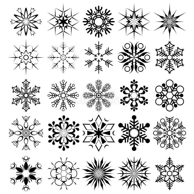 收集雪花向量 库存例证
