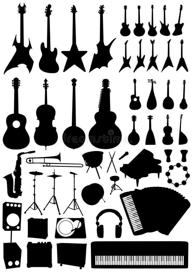 收集音乐反对向量 库存例证