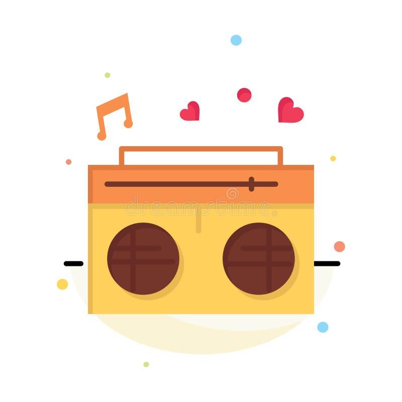 收音机,爱,心脏,婚礼摘要平的颜色象模板 库存例证