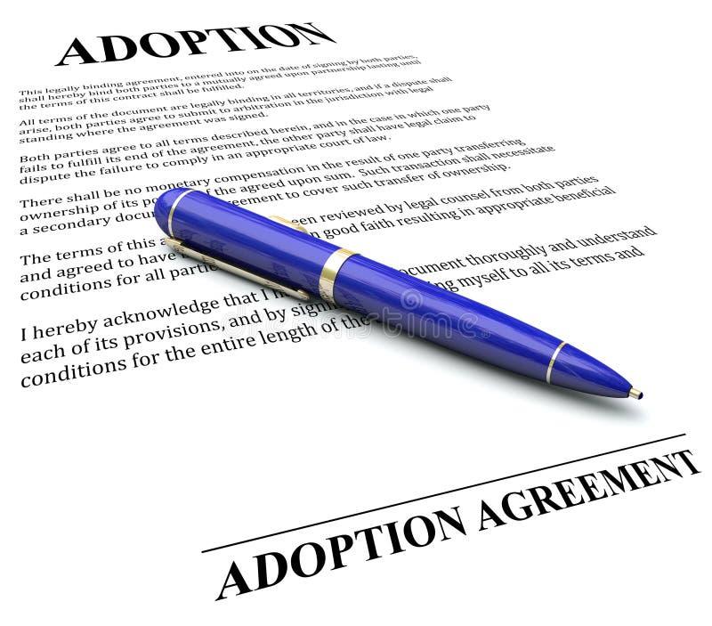 收养协议签署正式法律文件的合同笔 向量例证