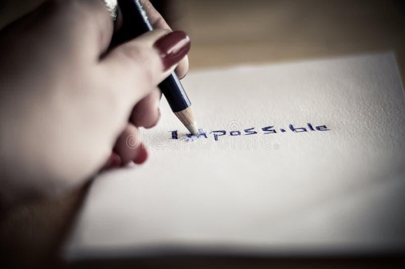 更改不可能的字到可能 库存图片
