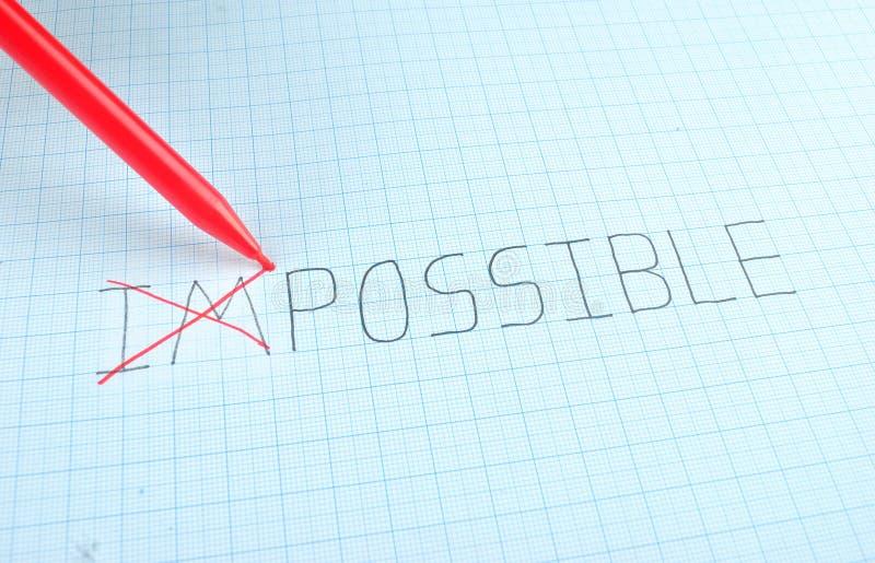 改变不可能的词到可能 库存照片