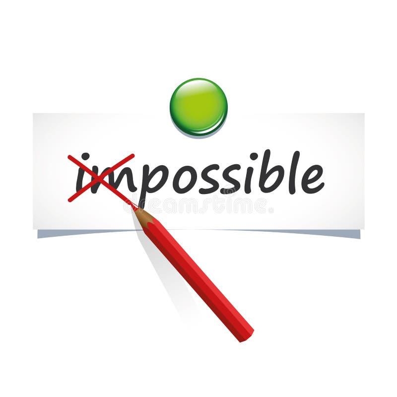 改变不可能的词到在一张纸的可能的文本与红色笔 皇族释放例证