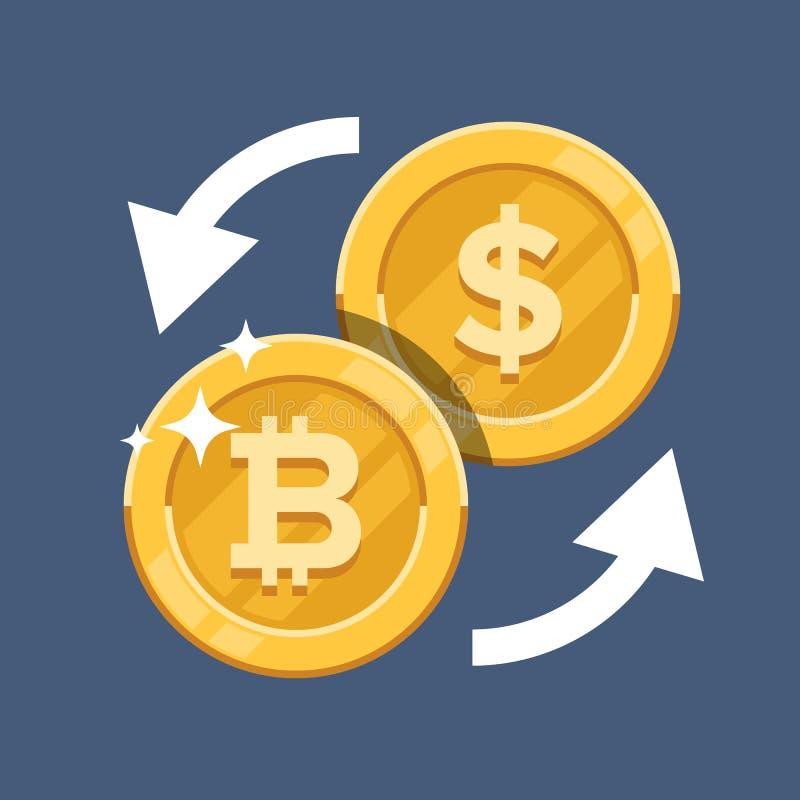 改变信仰者Bitcoin货币 隐藏货币 在颜色backgound隔绝的平的传染媒介例证 皇族释放例证